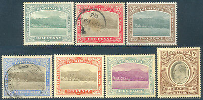 Dominica 1907, Set of 7 Stamps, Edward VII, SG 37/40, 42, 43, 46, LH/Used