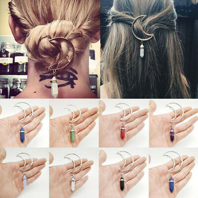 Women Boho Moon Hair Clip Natural Stone Pendant Hair Comb Hairpin Clip For Girls