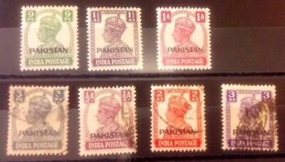 Pakistan stamps. 1947 Overprint. SG 1, 2, 3, 4, 5, 6, 7 mint and used