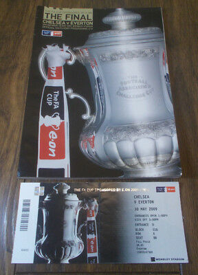 Chelsea vs Everton FA Cup Final Programme + Ticket 2009