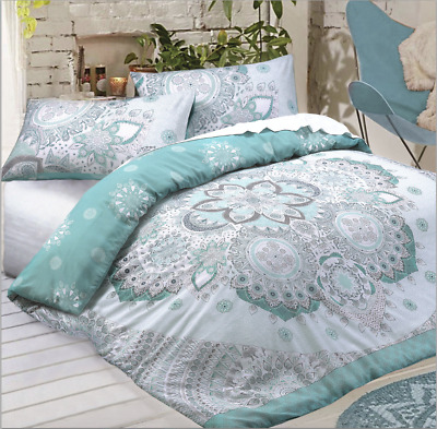 Christmas Mandala Teal Duvet Cover and Pillow Case Bedding Set All Sizes