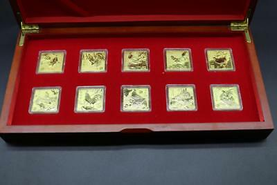 With box 1 Set 2017 Year of The Rooster Chinese Zodiac Gold Coin Size 30*30mm