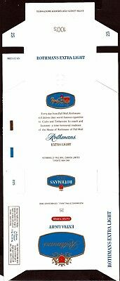 "Paquet vide neuf d'emballage de cigarette ""ROTHMANS extra light ""  P40"