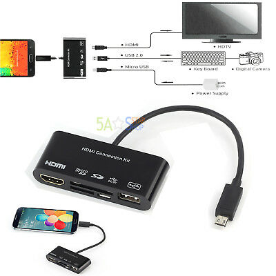 5in1 Micro USB to HDMI HDTV Adapter + USB OTG SD Card Reader Connection Kit