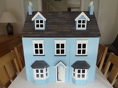 Wooden Dolls House - bay fronted - blue. Complete with quality wooden furniture