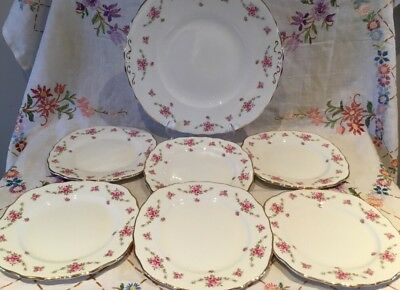 *pretty Vintage Ditsy Pink Roses 🌷 Bone China Cake Tea Plate Set*