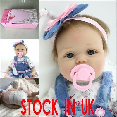 22in Simulation Baby Soft Silicone Reborn Doll Cute Bule Eyes Girl Xmas Gifts