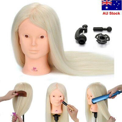 "24"" 100% Real Human Hair Training Head Mannequin Hairdressing Cosmetology +Clamp"