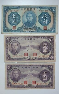 1940 The Central Reserve Bank of China Paper Money Lot of 3