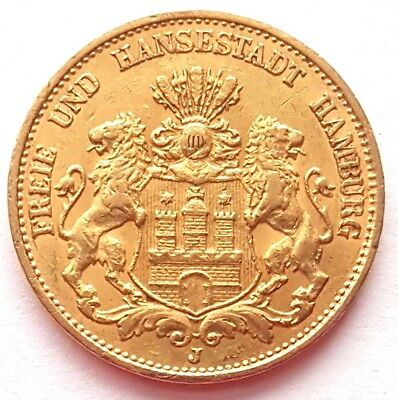 1894-J Germany Hamburg Mint Gold 20 Twenty Marks Mark Coin