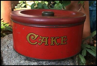 Vintage Country Style Round Red Cake Biscuit Tin