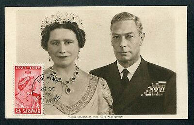 1948 Malaya Sarawak Their Majesties King & Queen Postcard Kuching - Jersey GB UK