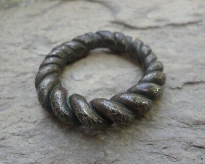 VIKING Ancient SILVER Twisted Ring Museum quality 700-800 AD Lovely Artifact