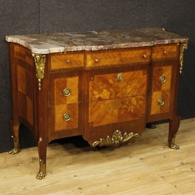 Dresser inlaid wood furniture chest of drawers commode marble top antique style
