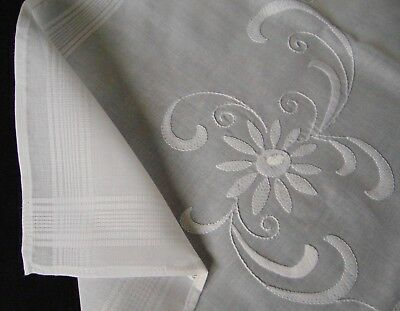 Vintage Unused Hand Embroidered Pure-White Tablecloth Immaculate