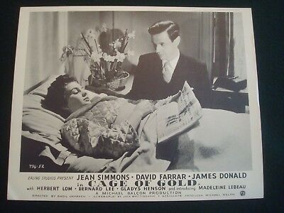 JEAN SIMMONS FILM LOBBY CARDS 10 x 8 CAGE OF GOLD SET of 8 B & W