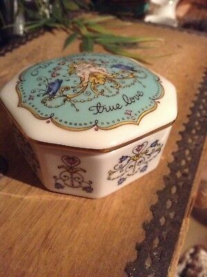 porcelain music box(cherubs and floral picture)