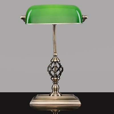 Kingswood Barley Twist Bankers Desk Lamp With USB Charging Port - Green Glass