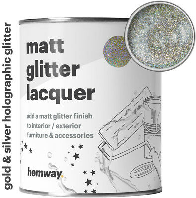 Hemway Silver Gold Holographic Glitter Paint Matt Varnish Lacquer Protective