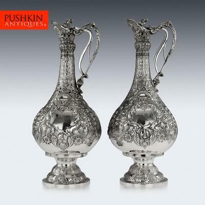 ANTIQUE 19thC VICTORIAN SOLID SILVER PAIR OF MAGNIFICENT ARMADA JUGS c.1898