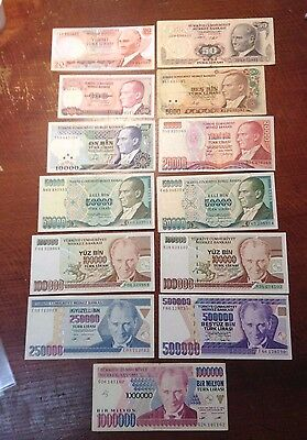 Turkey - 20 to 1,000,000 Lirasi - FV 2,085,170 - 13 Notes - World Lot