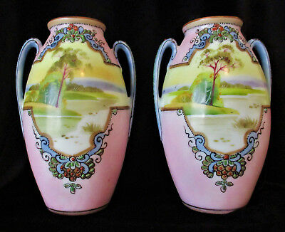 JAPANESE  Noritake - Matching Pair of Vases - Hand Painted with Moriage Detail