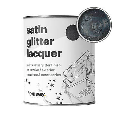 Hemway Black Glitter Paint Clear Satin Varnish Lacquer Indoors Outdoors UV