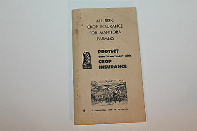 Vintage Booklet Used Notebook Crop Insurance Manitoba Farmers 1972