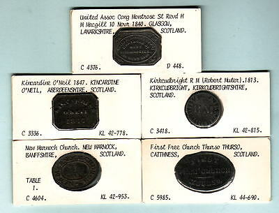 Scotland. Group of 5 different COMMUNION Tokens. Early 1800s - 1847,  in Lead