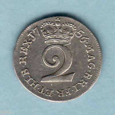 Great Britain. 1756 - George  11 Twopence.. EF/aEF