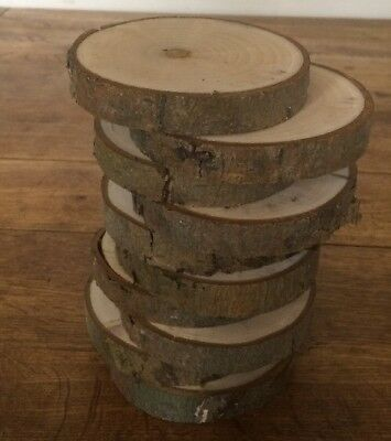 Set Of 10 Willow Log Slice Centre Pieces 9-10cm Wood Wedding Table Display