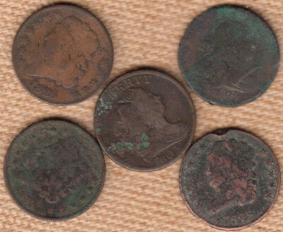 (5) Wounded Half Cents w/draped busts