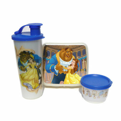 Tupperware NEW Beauty and The Beast Lunch Set Sandwich Keeper Tumbler Snack Cup