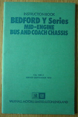 Instruction Book Bedford Y Series Mid Engine Bus & Coach Chassis Vauxhall Motors