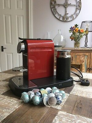 Nespresso Krups Coffee Machine With Aeroccino Milk Frother Red Great Condition!