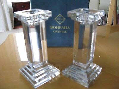 Bohemia Crystal Vintage Cut Glass Candlesticks candleholders pair, boxed