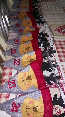 Christmas Advent calendar felted reindeer bunting hand made by Melinera