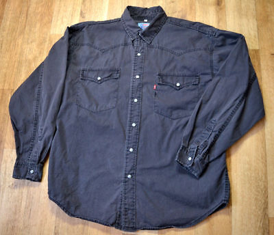 LEVI STRAUSS & Co HEAVY COTTON WORK SHIRT BLACK PEARL SNAPS LARGE EXCELLENT