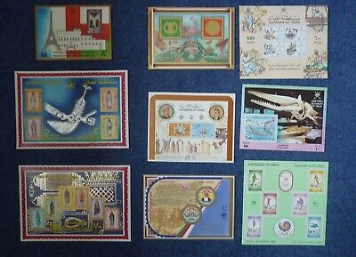 Collection of 9 Sultanate of Oman Stamp Presentation sheets