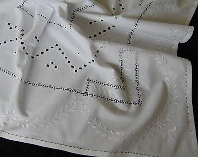 Vintage Hardanger Style Embroidery Ladder Stitch Edge Pure-Cotton Tablecloth