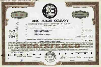 Ohio Edison Co. 1988 Akron First Mortgage Bond Life Assurnace Cincinnati 100.000