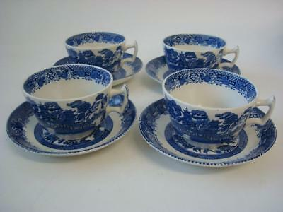 Woods Ware Willow 4 X Cups & Saucers