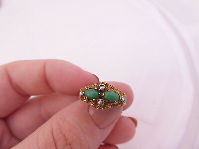 9ct/ 9k gold Turquoise & seed Pearl Victorian design ring, 375
