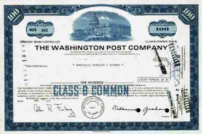 Washington Post Co. 1971 Weißes Haus D.C. Amazon Jeff Bezos Nash Holdings 100 Sh
