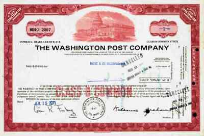 Washington Post red 1971 Weißes Haus D.C. Amazon Jeff Bezos Nash Holding 1 Share