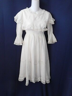 Edwardian White Cotton Valenciennes Lace Embroidered Girl's Dress Sewing Dolls