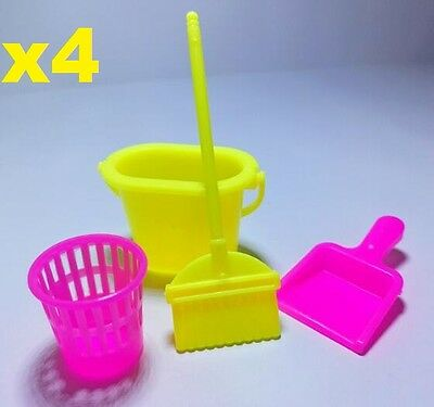 4PCs Doll Broom Dustpan Bucket For Barbie Doll House Furniture Kid Play House