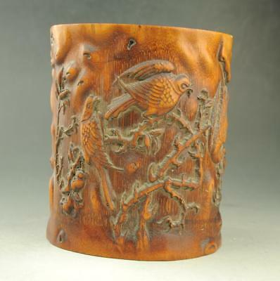 Chinese old unique Exquisite  hand engraving Flowers & Birds  bamboo brush pot