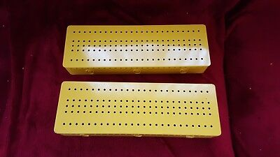 MECCANO 2 x YELLOW STORAGE BOXES  GOOD CONDITION
