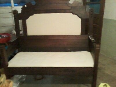 Victorian Gothic Large Wooden Antique Sitting Bench
